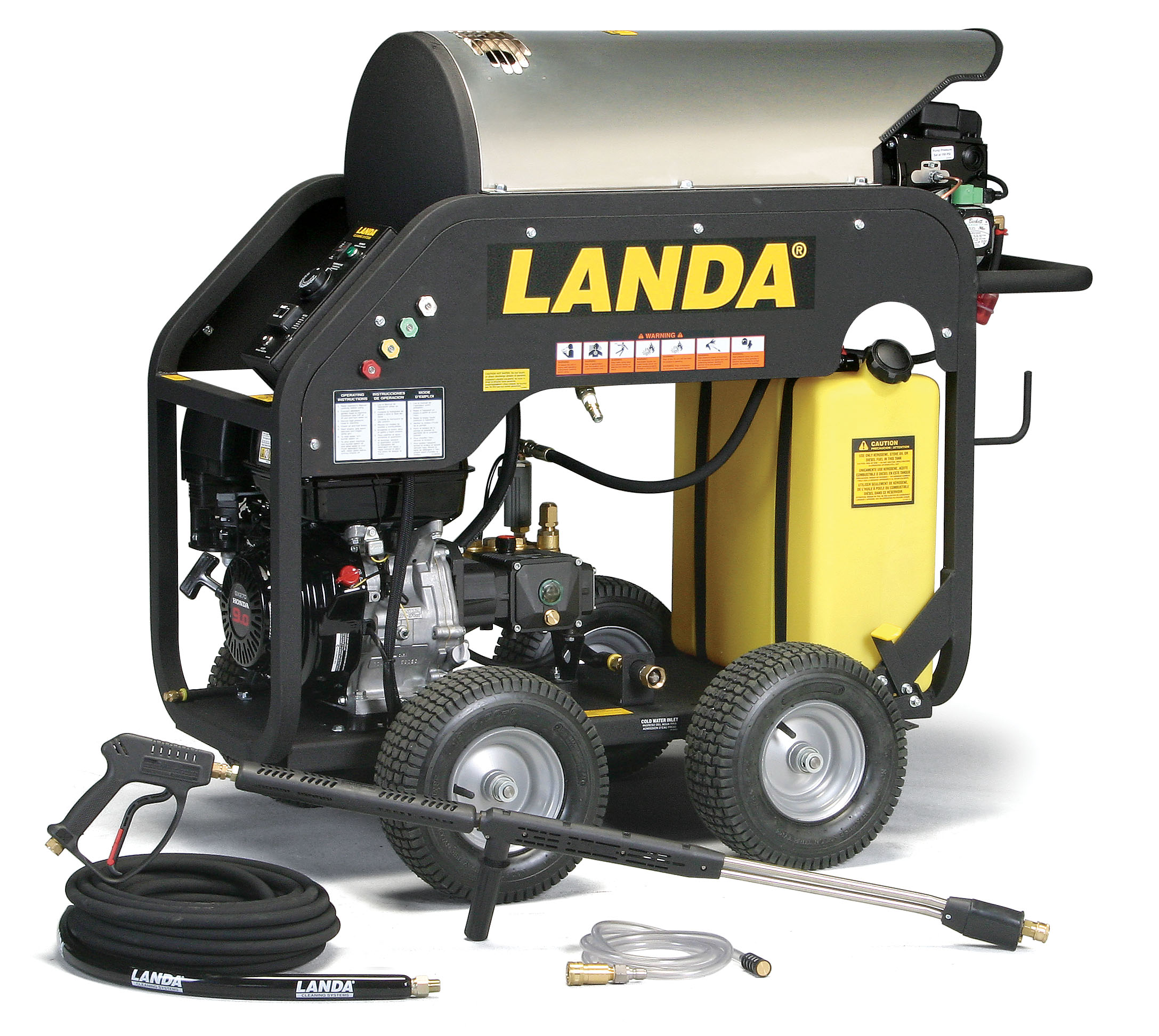 Landa Oil Fired Hot Water Pressure Washer MHC4-30324E/S Keyed Electric Start For High Altitude Applications